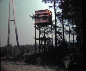 Highseat for hunting. in Harz Mountain Park. Federal State of Lower Saxony. Federal Republic of Germany. August 1964