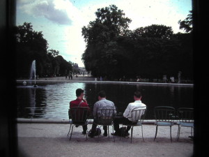 Paris. Three friends of mine in the Tuileries Gardens. June 1963