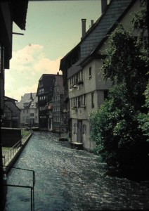 Ulm, FRG, little river. July 1965.