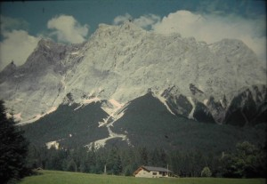 Zugspitze from Campinsite in Ehrwald. August 1965.