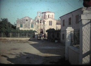 Vlacheraina, the church, onThe Island of Corfu. July, 1965.