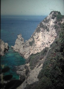 The Island of Corfu. Vieuw from a high rock near Palaiokastritsa. July 1965