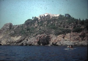 Day of rest. little boattrip near Palaiokastritsa, July 1965.