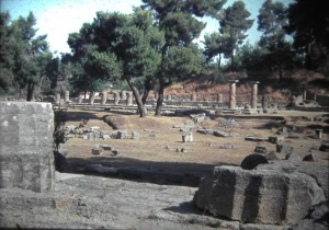 Olympia. Temples of Zeus and Hera. Olympia was the centre of the Ancient Olympic Games. July 1965.