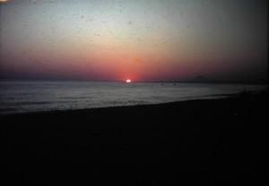 Romantic Sundown on a Greek beach. July 1965