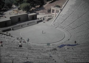 The Tourleader Mr. G. Kater declamating in the Ancient theatre of Epidavros, July 1965.