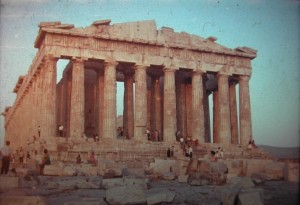 Athens. Romantic sundown on Parthenon Temple July 1965.