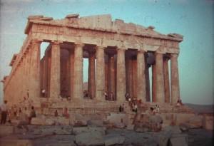 Athens. Romantic sundown on Parthenon Temple July 1965.