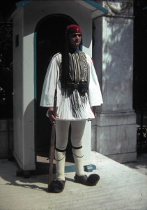 Guard, called Euzone in front of former Royal Palace, Athwns July 1965.
