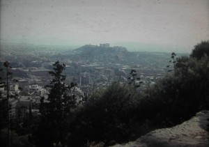 view on Lykavittos Hill in Athens, with view on the city in July 1965