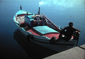 Thermopylae, start of our journey back to Holland. Fishermans boat July 1965.