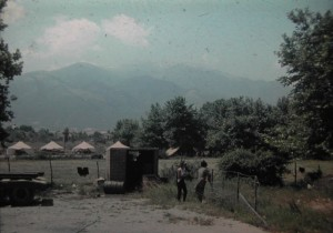 view on Olymp. yhe highest mountain of Greece. view fromthe camping site of Platamon. July 1965.
