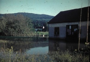 Back in Austria. Big floods by rain... in Styria, one of the Federal States of the Republic of Austria.3 August 1965.