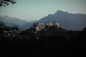 view on Kapuzinerberg. Salzburg. 5 August 1965.