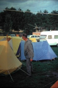 Mr. Kater, the tourleader, in rainy Germany: Wuerzburg for the last overnight. 6th of August 1965