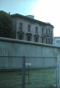 Berlin Wall behind Former Parliament Building. Picture taken from the West to Eastern Berlin in October 19881.