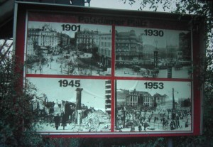 Billboard with history of Potsdamer Place during the histoty in the twentieth Century. Picture taken in West Berlin on October 19 1982.