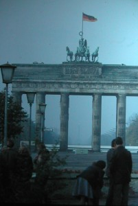Brandenburg Gate, this picture is in fact a forbidden picture. It was not allowed to take pictures of the Berlin wall, showing behind the Gate from thEast part of Berlin to the West Part. this picture taken October 20 1982.