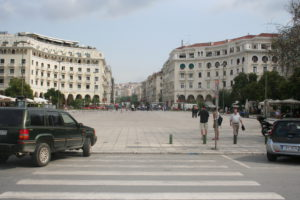 Thessaloniki. the centre of the city with many shops.